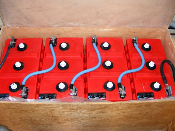Four of the eight massive submarine storage batteries from Surrette Battery Company Ltd. of Springhill, Nova Scotia.