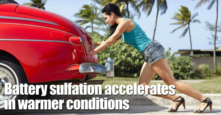 Battery Sulfation Accelerates In Warmer Conditions