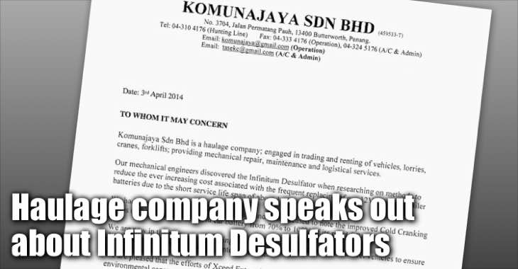 Haulage Company Komunajaya Speaks Out About Infinitum Desulfators