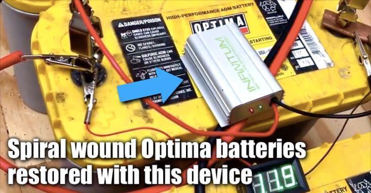 Spiral Wound Yellow Top Optima Batteries Restored With The Infinitum Desulfator